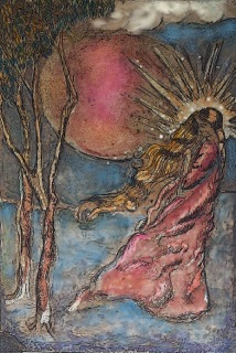 Cover of By Fire. A woman with golden hair and a sunburst halo around her head stands on a blue-white field before a red sun and two trees.