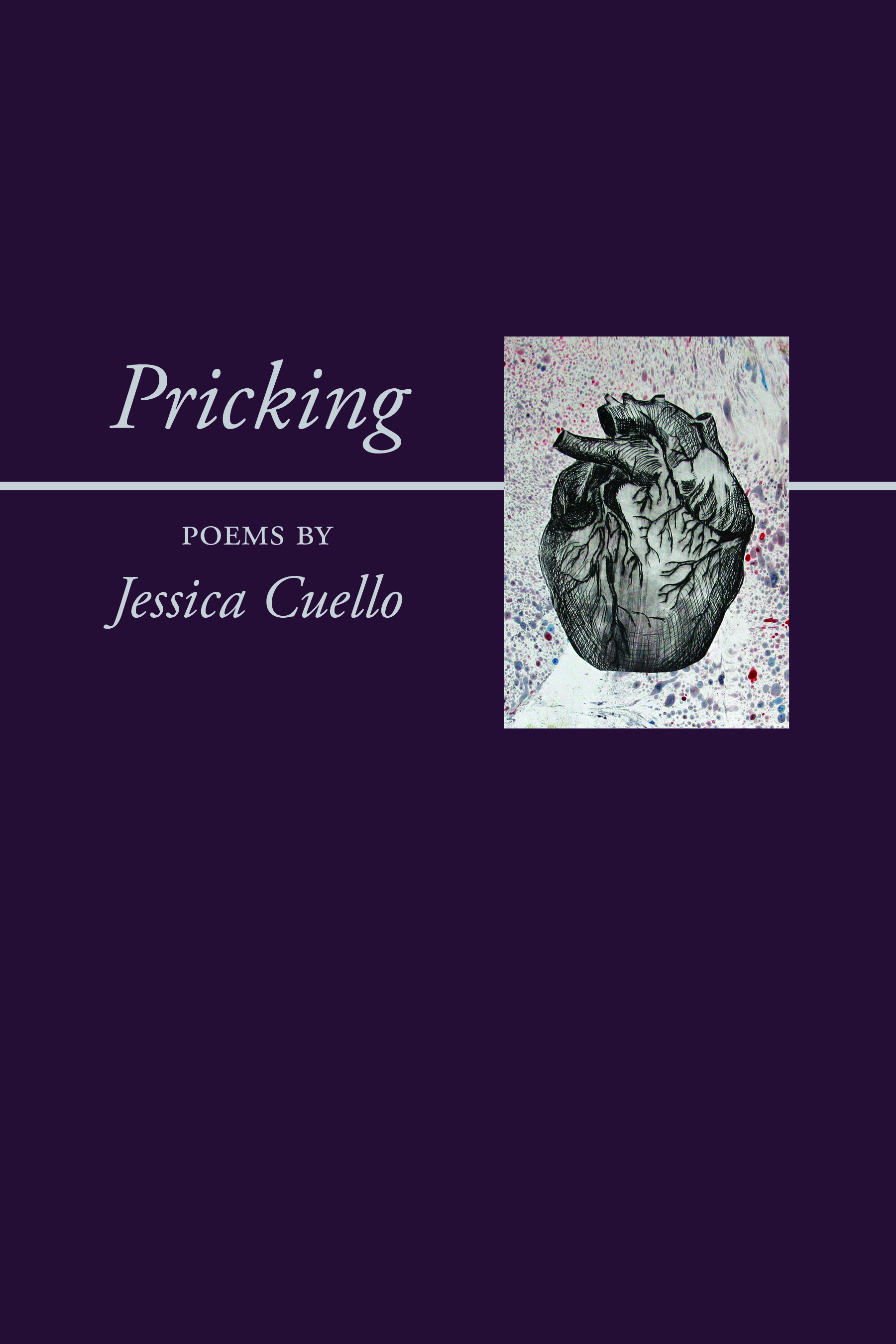 The book cover of Pricking. The cover is solid dark purple and has a small illustrated anatomical heart on the right side.